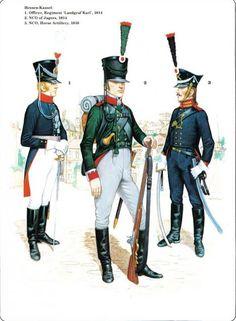 """Napoleon's German Allies. Hesse_Kassel 1_Officer Regiment """"Landgraf Karl"""" 1814 2_Jager 1814 3_Horse Artillery 1816"""