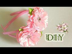 "Ободки ""Twins"" с цветами из лент | KANZASHI | DIY - YouTube"