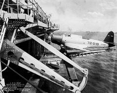 USS Wasp (CV-7) deck edge elevator with SB2U