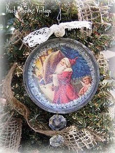 Mason jar lid ornament & Crystal Drops (could use juice jar lids too)