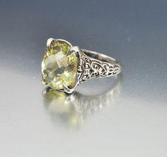 Vintage Sterling Silver Filigree Peridot Ring Size 6 by boylerpf, $80.00