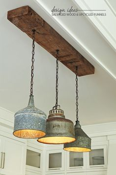 Design Ideas // Salvaged Wood & Upcyled Funnel Light Fixture | Anne RueAnne Rue