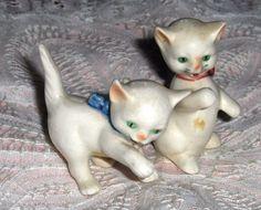 Vtg Miniature Goebel Kitten Figurines Playful Boy Girl Boxing Cats West Germany