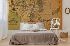 Map of the Middle-earth • Bedroom - Maps and flags - Wall Murals ✓ 365 Day Money Back Guarantee ✓ Consulting on the Pattern Selection ✓ 100% Safe✓ Set up online!