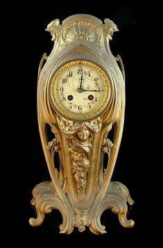 Art Nouveau Bronze Clock.