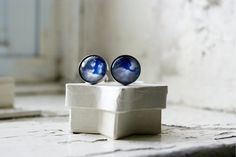 White Clouds Photo Stainless Steel Cuff links, Jewelry for Men, Surreal Whimsical Jewelry, Men's Wearable Art