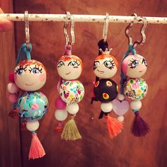 Diy Arts And Crafts, Bead Crafts, Jewelry Crafts, Craft Gifts, Diy Gifts, Clothespin Dolls, Fairy Dolls, Handmade Beads, Wooden Beads