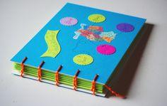 Sonderformate - Reisetagebuch - Flitterwochen - Blau, Grün, Orange - ein Designerstück von Atelier-Horte bei DaWanda