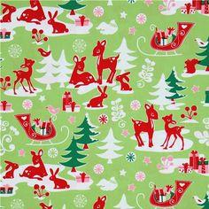 Michael Miller Material | Michael Miller fabric green Yule Critters deer Christmas 2