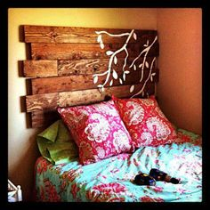 Timber Bedhead, thanks to More Than Vintage's share what a clever idea! Print/paint paddles on it for lake house feel...