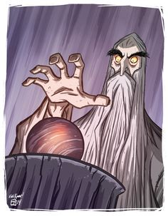 Another cartoon by Otis Frampton. I love his artwork, and this pic of Saruman and his Palantír is brilliantly styled! Open the link to see more of his geeky art Tolkien, Cartoon Sketches, Book Projects, Lord Of The Rings, Middle Earth, Lotr, The Hobbit, Illustrations Posters, Character Design