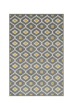 Geometric Pattern Outdoor Rug in Grey/Citron