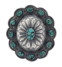 Sterling Silver Genuine Turquoise Vintage Pendant & Pin Navajo Native American Indian Jewelry Signed Kirk Smith
