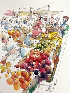 farmer's market watercolor sketches