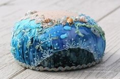 Crazy quilted pincushion by Lisa P. Boni, 2014, via Flickr