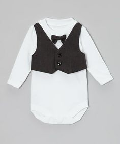 Take a look at this Charcoal Gray Vest & Bow Tie Bodysuit - Infant by Caught Ya Lookin' on #zulily today!