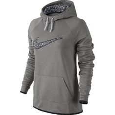 Nike Womens All Time Graphic 3 Training Hoodie (Large, Dark Grey Heather)