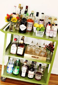 ReStyled Bar Cart via A Beautiful Mess Blog. For the new place with my lady. Done and done.   @Kathleen Owen