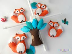 Fox Baby Mobile - Woodland Baby Mobile - Tangerine Foxes with Teal and Aqua Tree by MaisieMooNZ on Etsy https://www.etsy.com/listing/193660082/fox-baby-mobile-woodland-baby-mobile
