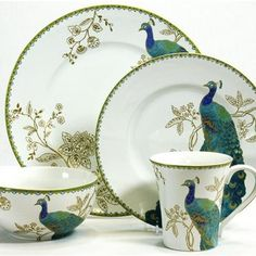 Home Decorators Collection - Peacock Garden 16-Piece Dinnerware Set - The focal point of our Peacock Garden 16-Piece Dinnerware Set is a maj...