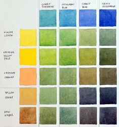 """Another Pinner said...""""Chart showing how to mix greens with my palette of colors."""""""