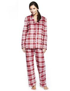 Revere Collar Checked Fleece Pyjamas