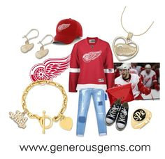 Detroit Red Wings NHL by generousgems.com on Polyvore featuring Bebe, Reebok, Converse and Eagle Creek  #redwings #hockey #nhl #detroit #detroitredwings #nhlplayoffs #hockeylife #sports #hockeyfan #love