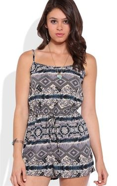 Deb Shops Floral Paisley Print Romper with Tie Waist $13.00