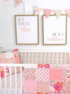 Watercolor floral bunting banner, baby girl nursery decor, b