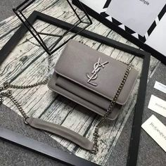 2016 Cheap YSL Small Sunset Monogram Satchel in Grey Grained Leather
