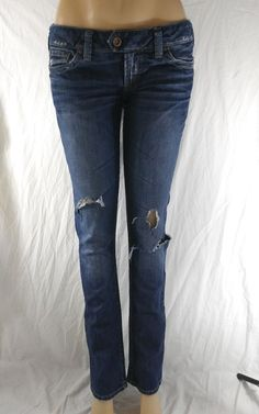 935d999a437 Silver Jeans Size 28X32 Women s Tuesday Slim Distressed Ripped Denim Jeans   SilverJeans  SlimSkinny Old