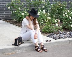 A Little Detail - White & Black with a Graphic T-Shirt #outfit #fashion #summerfashion #summerstyle #womensfashion #womensstyle #graphictshirt #whitejeans #fedora