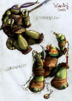 Don and Mikey PHASE III by WrozbitaMadziej.deviantart.com on @DeviantArt Ninja Turtles 2014, Teenage Mutant Ninja Turtles, Ninga Turtles, Tmnt 2012, Comic Pictures, Animation, Comic Character, Cool Artwork, Deviantart