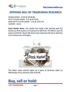 Stock market updates with support level by best advisory company who provide accurate trading tips by expert research team. visit http://www.tradtips.com