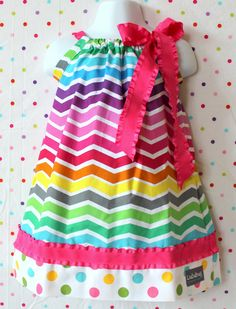 Rainbow Chevron and Polka Dot Pillowcase Dress. $30.00, via Etsy.