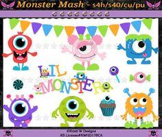 Monster Mash Party Digital Clip Art Set - INSTANT DOWNLOAD - Scrapbooking Craft Clipart Elements