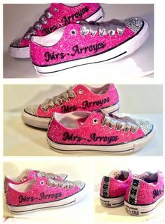 Sparkly Hot Pink Glitter Crystals Converse All Stars Shoes Personalized  wedding bride f73399071