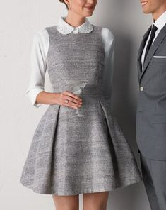 Just ask Katharine Hepburn and Annie Hall: Menswear-inspired looks are always in style. Her figure-flattering tailored dress is even more appealing when Topman Suits, Shirt Under Dress, Mode Outfits, Fashion Outfits, Preppy Style, My Style, Ladylike Style, Work Fashion, Fashion News