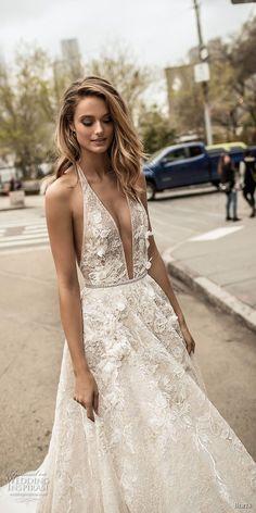 berta spring 2018 bridal sleeveless halter neck deep plunging v neck sexy romantic modified a line wedding dress open back chapel train (5) zv