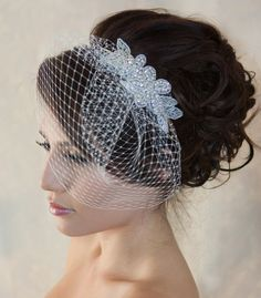Wedding Birdcage Veil with Crystal rhinestone by WearableArtz