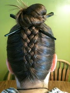 5 Strand French Braid Into A Messy Bun with hair chopsticks
