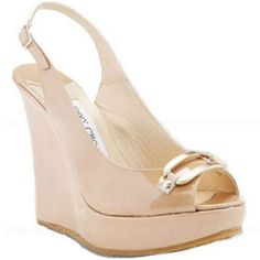 Brides Handfastings Shoes Weddings:  Patent Leather Wedge Sandals, by Jimmy Choo.