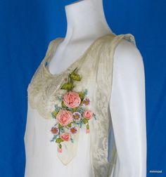 Vintage 1920s French Nightgown Off White Silk Chiffon Ribbonwork Flowers Lace | eBay
