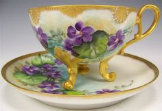 french tea cups and saucers | Exceptional Antique Unmarked French Limoges Hand Painted VIOLETS Cup ...