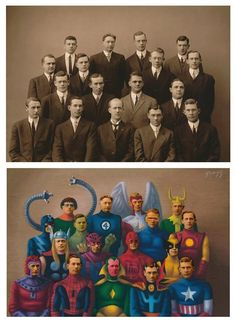 """""""Heroes"""" – Alex Gross Transforms Characters of Old Pictures Into Deliciously Vintage Superheroes"""
