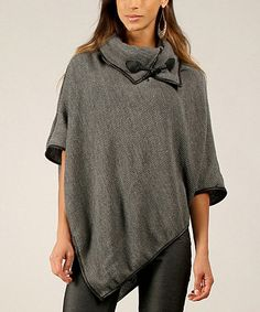 This Gray Asymmetrical Cowl Neck Poncho is perfect! #zulilyfinds