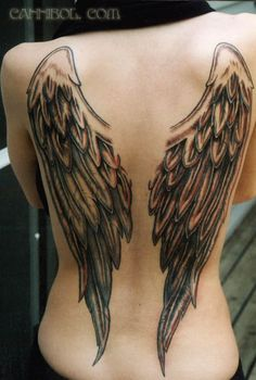 Angel wings tattoo on back - 50 Awesome Back Tattoo Ideas