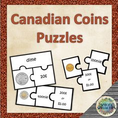 LOW PREP Canadian money puzzles to practice coin names and values. Just print, laminate if desired, cut, and play! Great for math centers, class games, kinesthetic learners, developing social skills, and more! 2 versions of puzzles for all coins, in both colour& black-and-white Money Bingo, Money Games, Money Lei, Teaching Money, Teaching Resources, Coin Books, Money Activities, Money Worksheets, Money Pictures