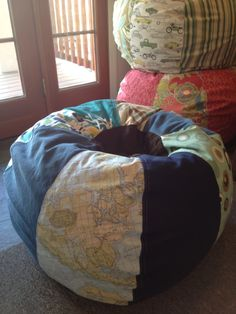 Travel the world Beach Blues Bean Bag chair with multiple prints map coral ikat aqua and solids. $135.00, via Etsy.