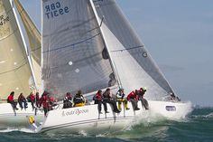 The J/109 yacht 'Outrajeous' racing during Aberdeen Asset Management Cowes Week. #sailboats #boats #sailing